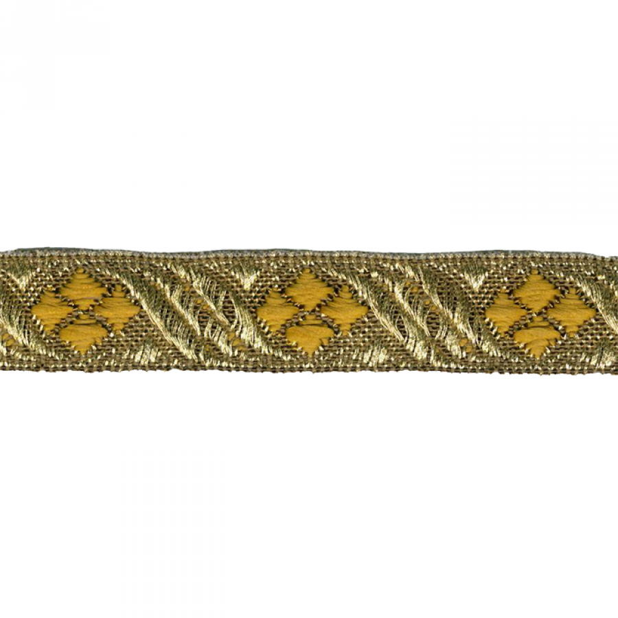 Galon metal rayon jacquard oro, amarillo 15 mm