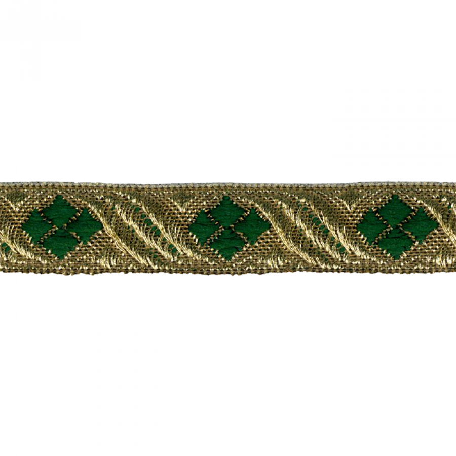 Galon metal rayon jacquard oro, verde 15 mm