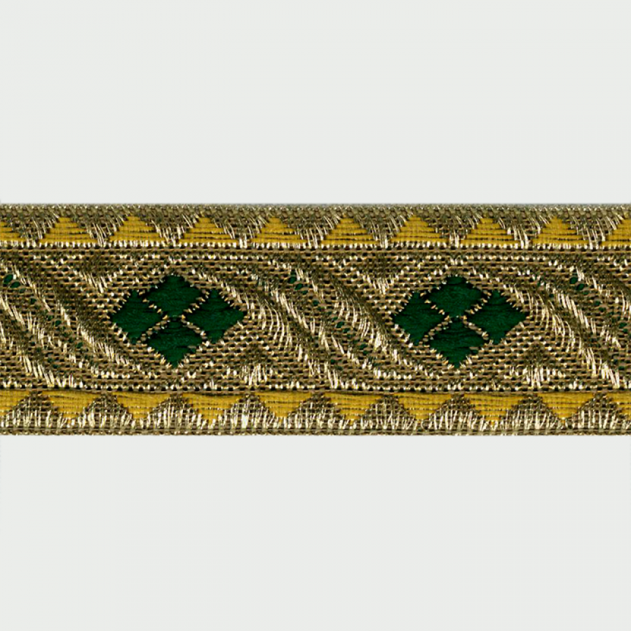 Galon metal rayon jacquard oro, verde 30 mm