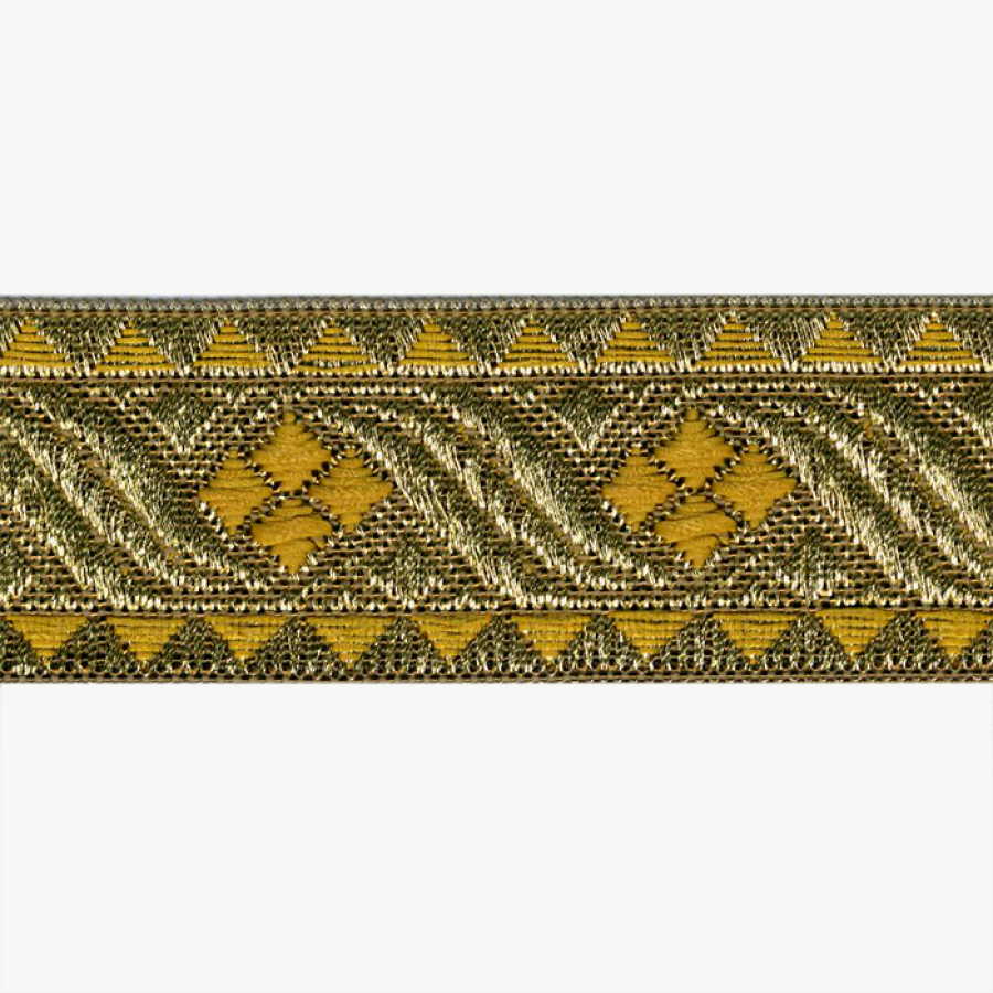 Galon metal rayon jacquard oro, amarillo 30 mm